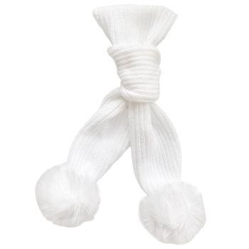 Faux Fur Pom Scarf - White