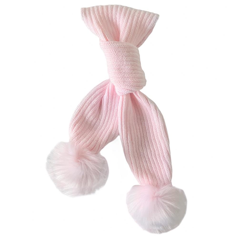 Faux Fur Pom Scarf - Pink