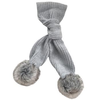 Faux Fur Pom Scarf - Grey
