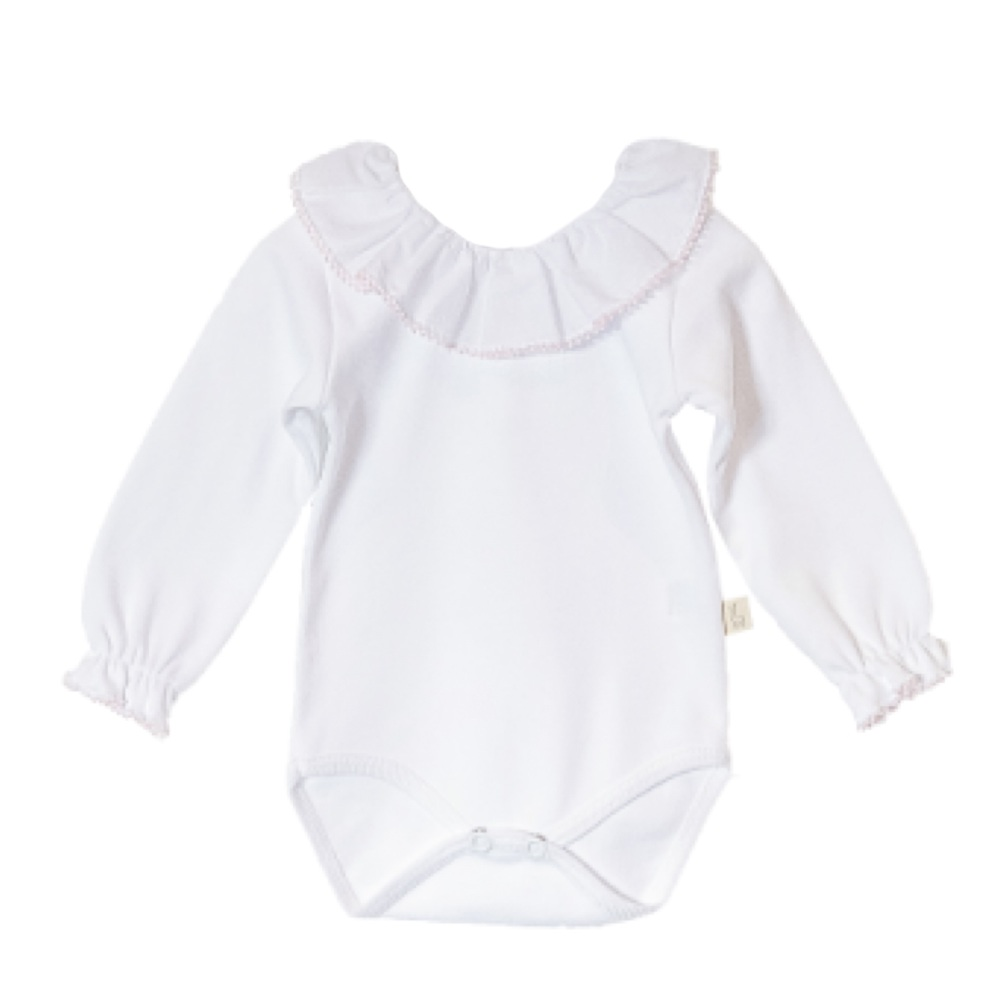 Baby Gi Frill Neck Body - Pink Trim