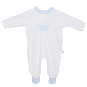 Baby Gi Micro Stripe Crown Babygrow - Blue