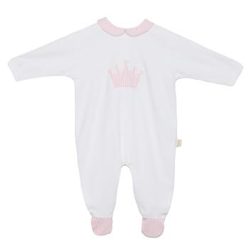 Baby Gi Micro Stripe Crown Babygrow - Pink