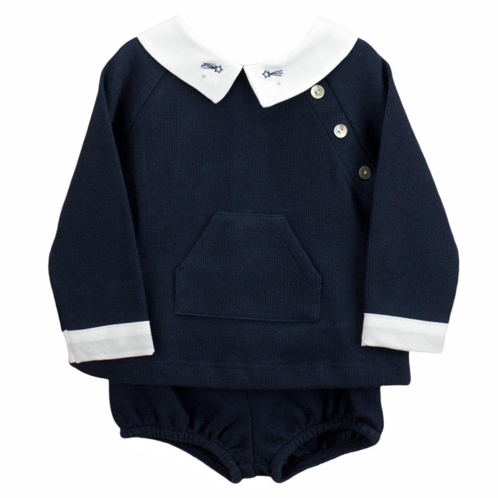 Babidu Jersey Cotton Jumper & Shorts - Navy