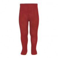 Cotton Rich Plain Tights - Cherry