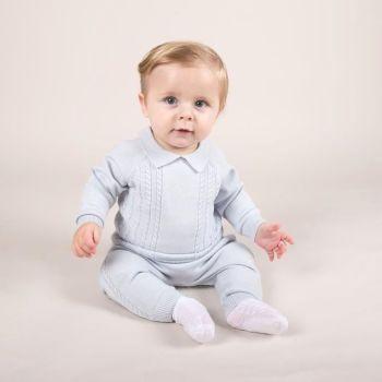 Ollie Cable Knit Jumper & Pants - Blue