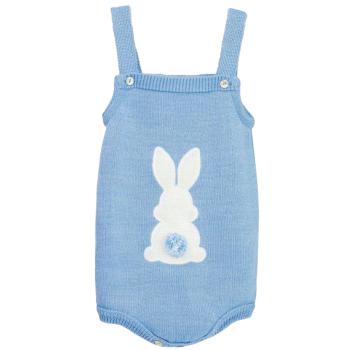Little Bunny Tail Romper - Blue