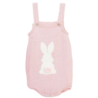 Little Bunny Tail Romper - Rose