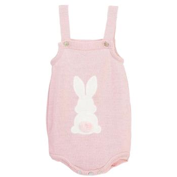 Little Bunny Tail Romper - Rose