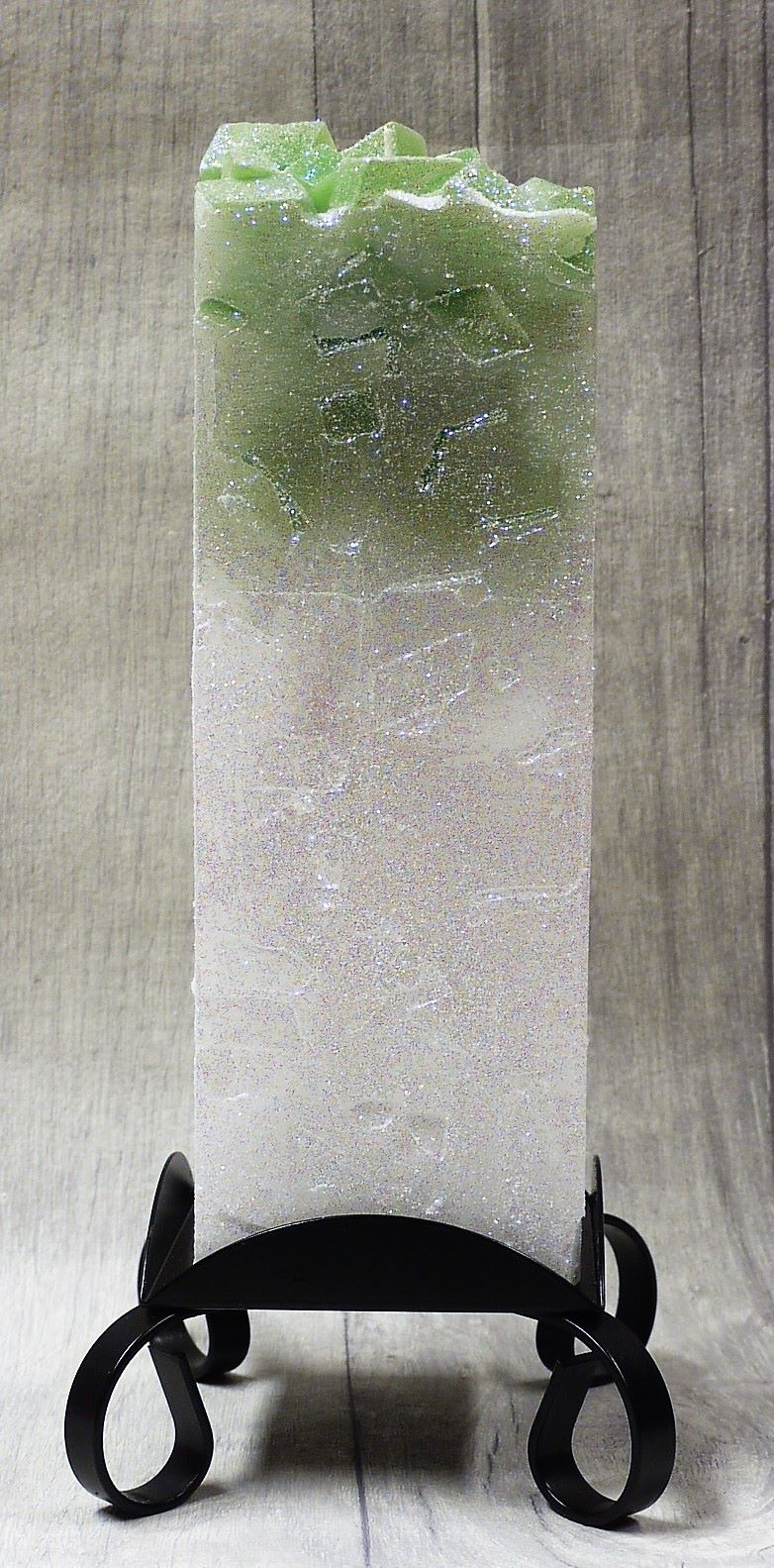 Large Green colour topped square pillar candle