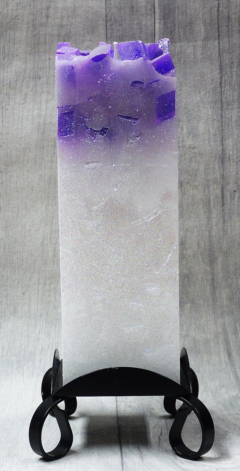 Large Purple colour topped square pillar candle