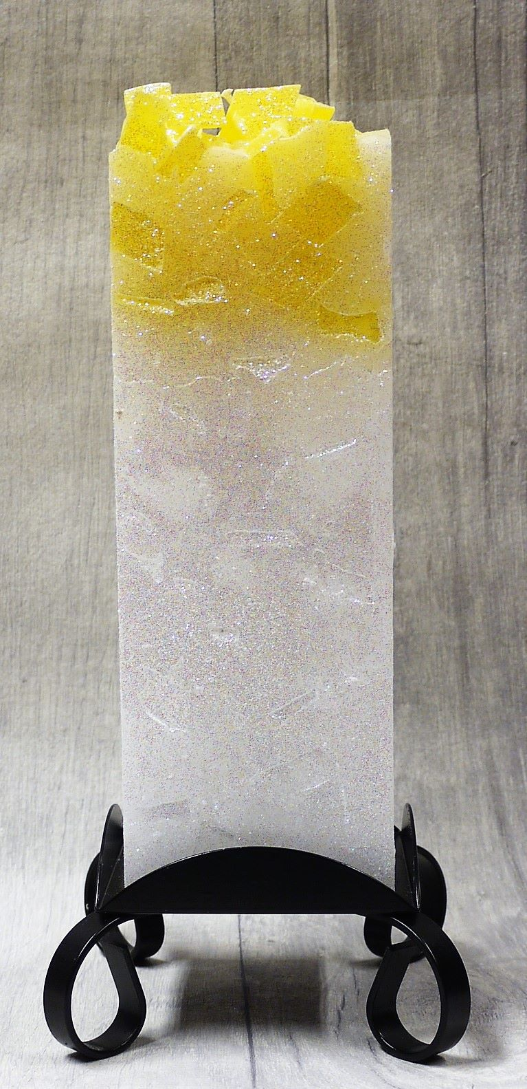 Large Yellow colour topped square pillar candle