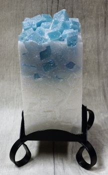 Medium Teal colour topped square pillar candles