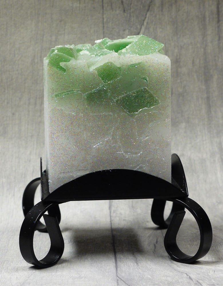 Small Green colour topped square pillar candles