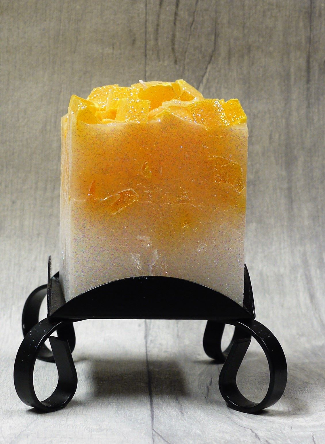 Small Orange colour topped square pillar candles