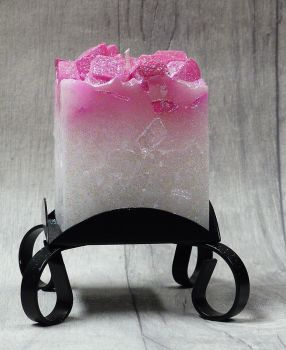 Small Pink colour topped square pillar candles