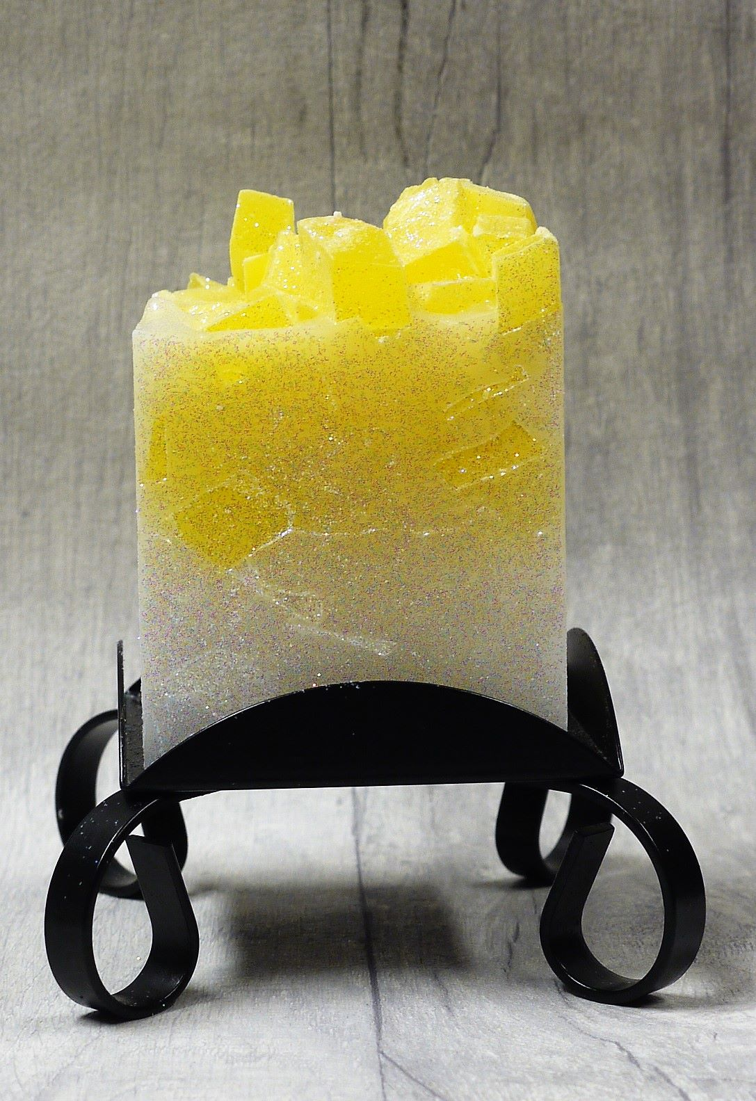 Small Yellow colour topped square pillar candles