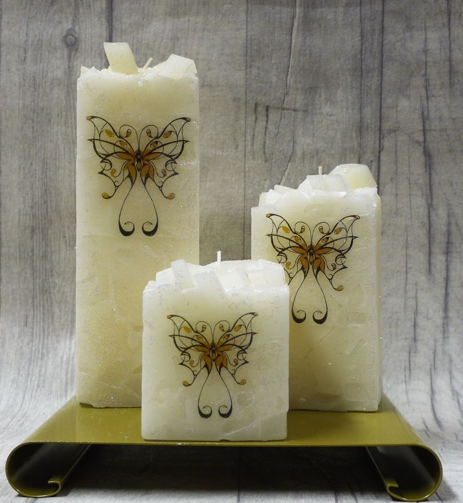 Full set of Cream square colour topped pillar candles