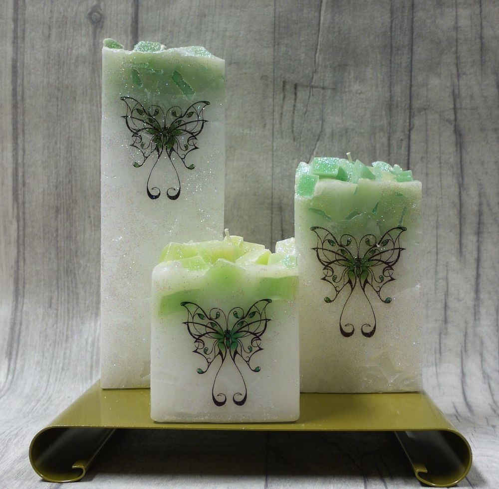 Full set of Green square colour topped pillar candles