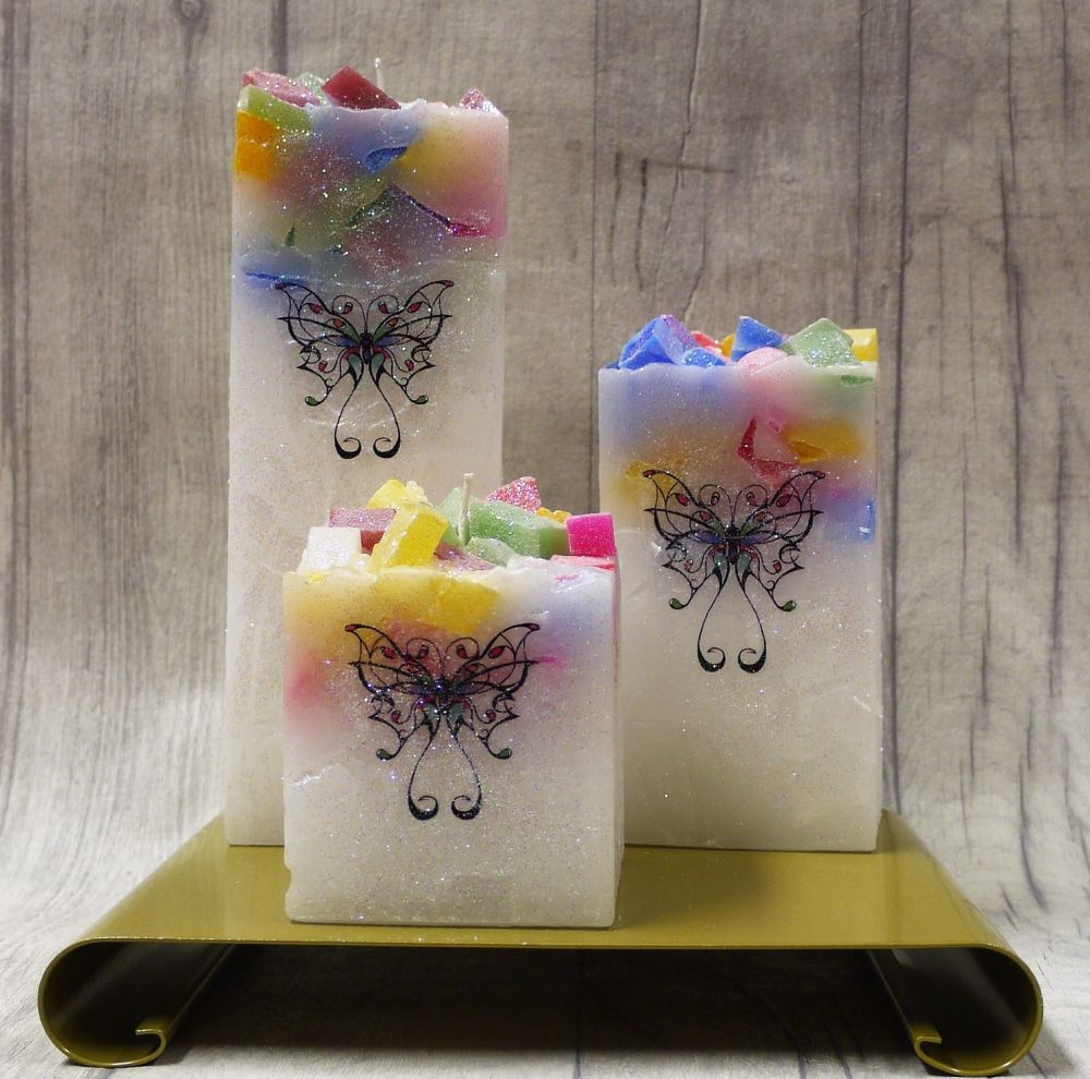 Full set of Multi square colour topped pillar candles