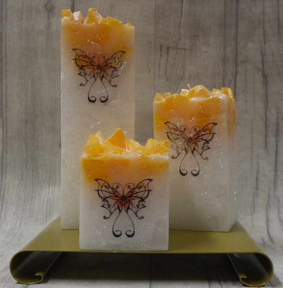 Full set of Orange square colour topped pillar candles