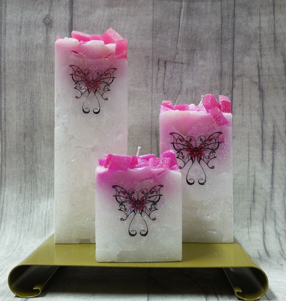 Full set of Pink square colour topped pillar candles