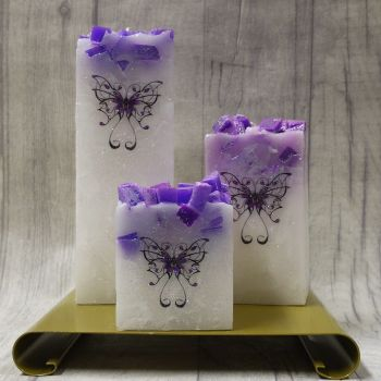 Full set of Purple square colour topped pillar candles