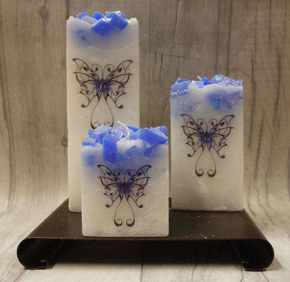 Full set of Blue square colour topped pillar candles