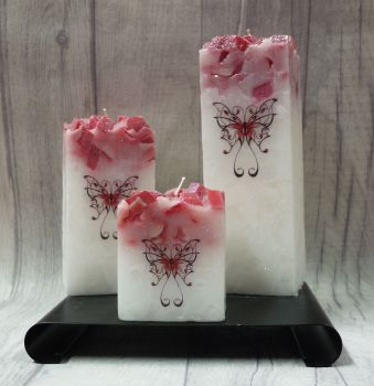 Full set of Red square colour topped pillar candles