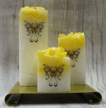 Full set of Yellow square colour topped pillar candles