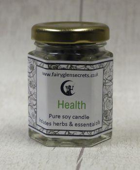 Health - Essential oil & Herb soy wax candle jar.