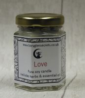 Love - Essential oil & Herb soy wax candle jar.