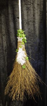Large white handmade besom broom