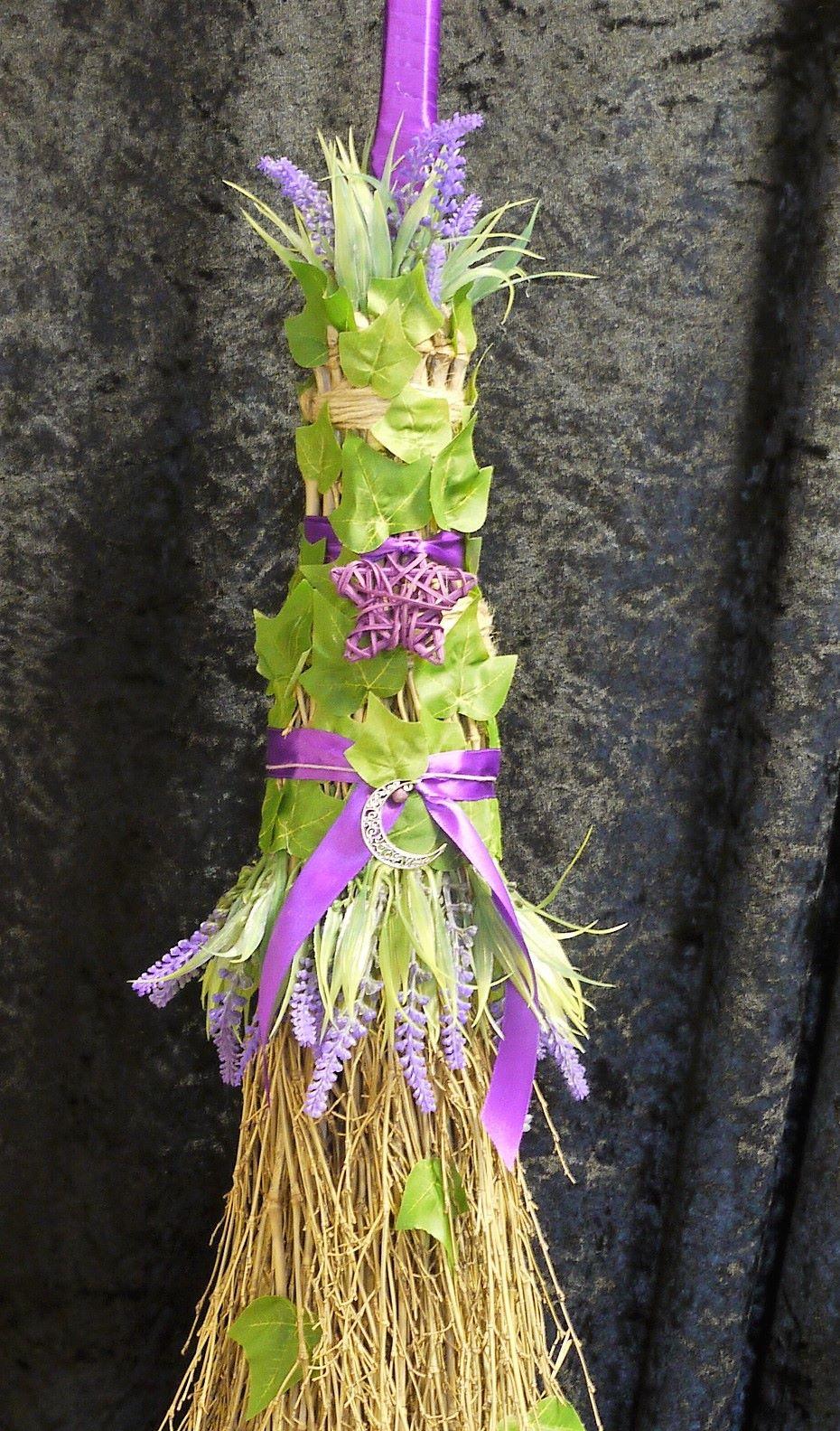 Large lavender handmade besom broom