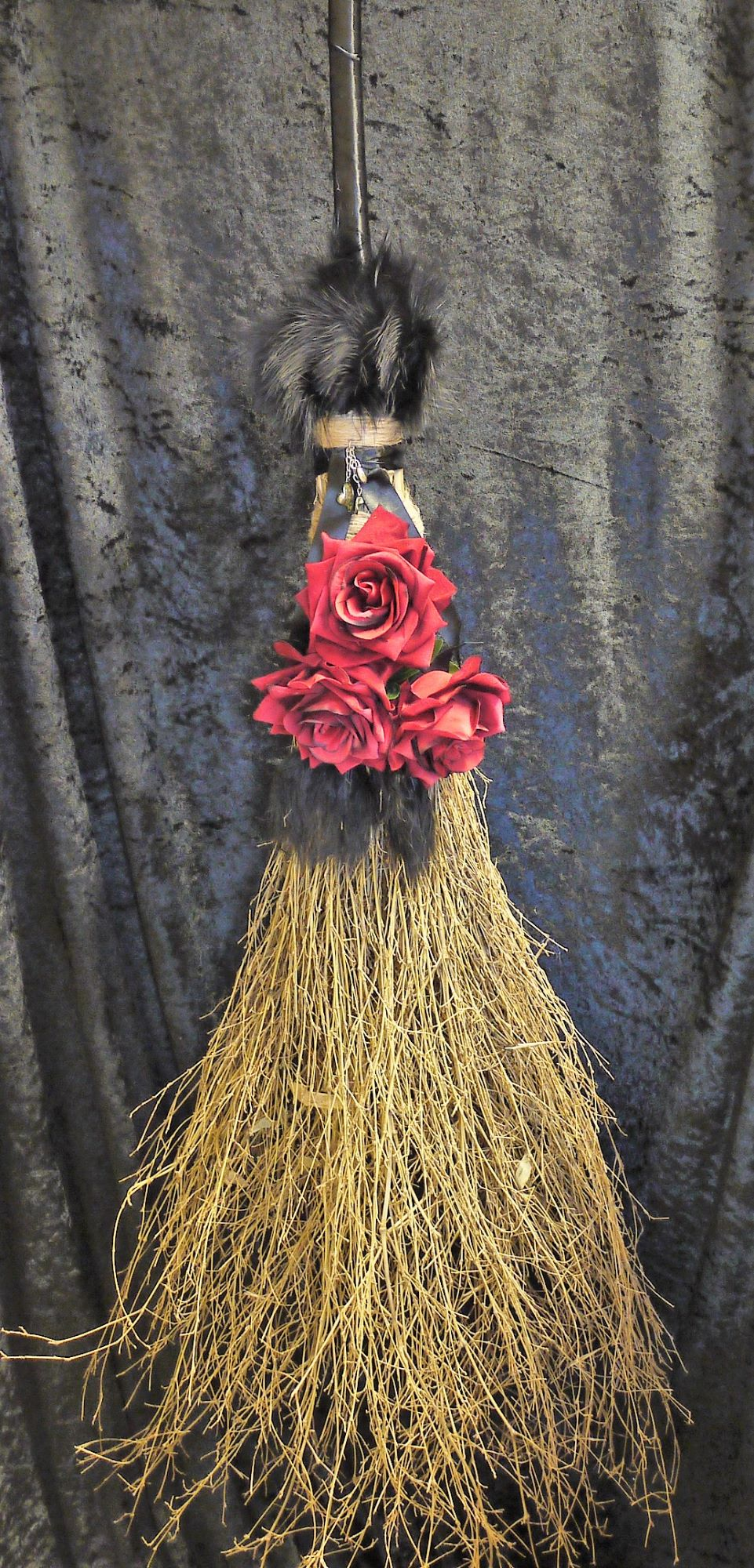 Large red & Black handmade besom broom