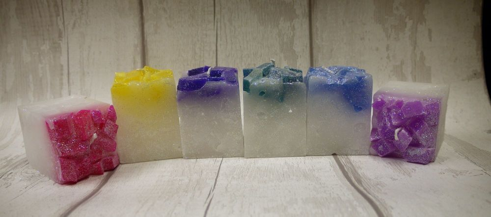 colour topped square candles