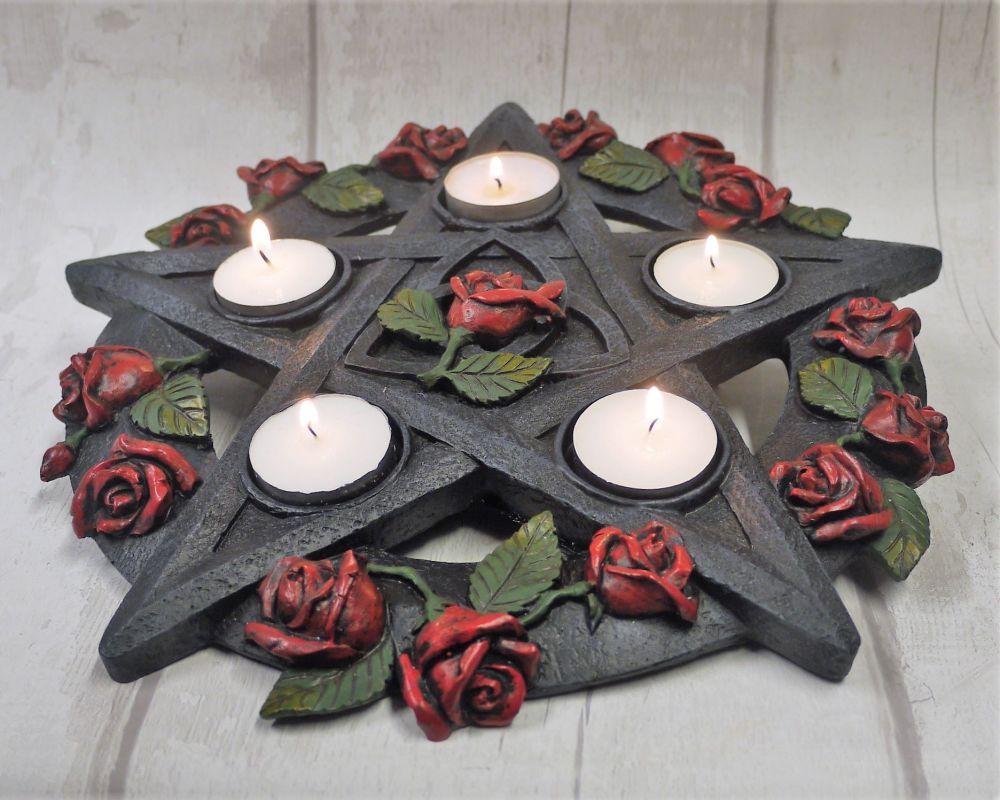 Red Rose Pentagram Tea Light Holder