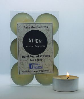 """Alien"" Inspired Fragrance Soy Wax Tea Lights"