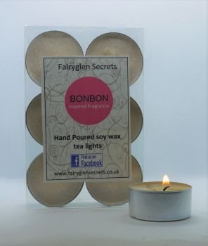 """Bon Bon"" Inspired Fragrance Soy Wax Tea Lights"