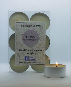 """Boss"" Inspired Fragrance Soy Wax Tea Lights"