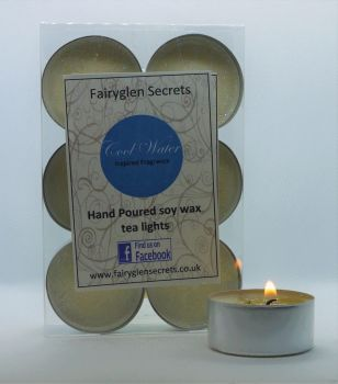 """Cool Water"" Inspired Fragrance Soy Wax Tea Lights"