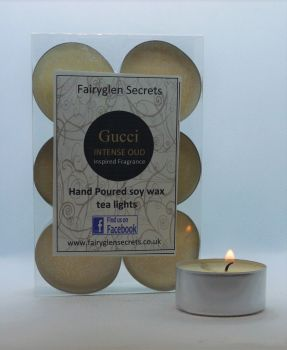 """Gucci oud"" Inspired Fragrance Soy Wax Tea Lights"