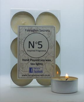 """Number 5"" Inspired Fragrance Soy Wax Tea Lights"