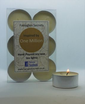 """One Million"" Inspired Fragrance Soy Wax Tea Lights"