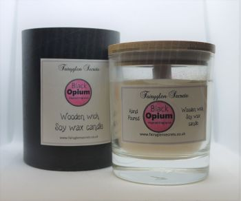 """""""Black Opium"""" Inspired Fragrance Soy Wax Wooden Wick Candle Jar"""