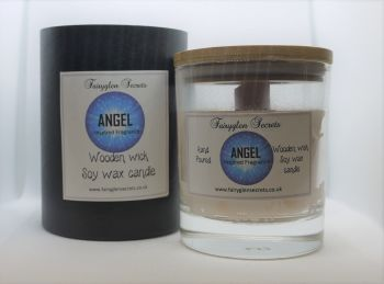 """""""Angel"""" Inspired Fragrance Soy Wax Wooden Wick Candle Jar"""