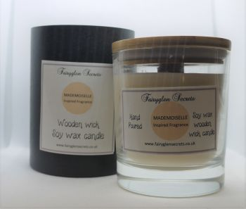 """""""Mademoiselle"""" Inspired Fragrance Soy Wax Wooden Wick Candle Jar"""