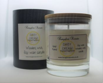 """""""Daisy"""" Inspired Fragrance Soy Wax Wooden Wick Candle Jar"""