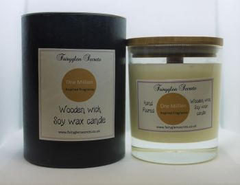 """""""1 Million"""" Inspired Fragrance Soy Wax Wooden Wick Candle Jar"""