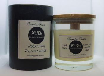 """Alien"" Inspired Fragrance Soy Wax Wooden Wick Candle Jar"