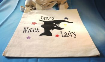 """Crazy Witch Lady"" Cotton Bag Medium"